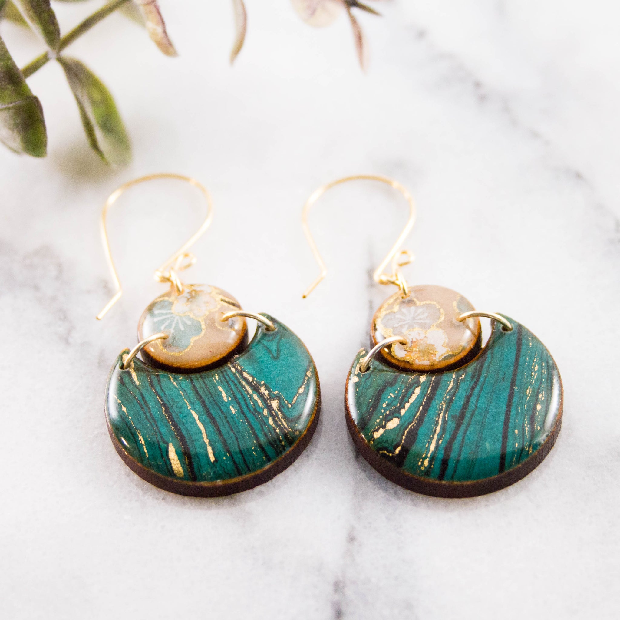 Japanese Double Circle Earrings- Turquoise Marble