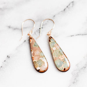 Natural + Aqua Floral Teardrop Earrings