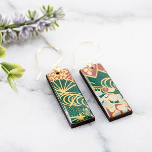 Deep Green Floral Rectangle Earrings