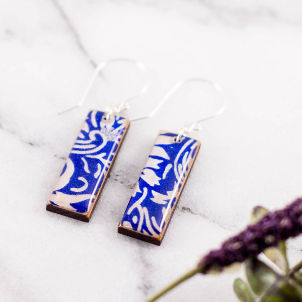 Bright Blue + Silver Rectangle Earrings