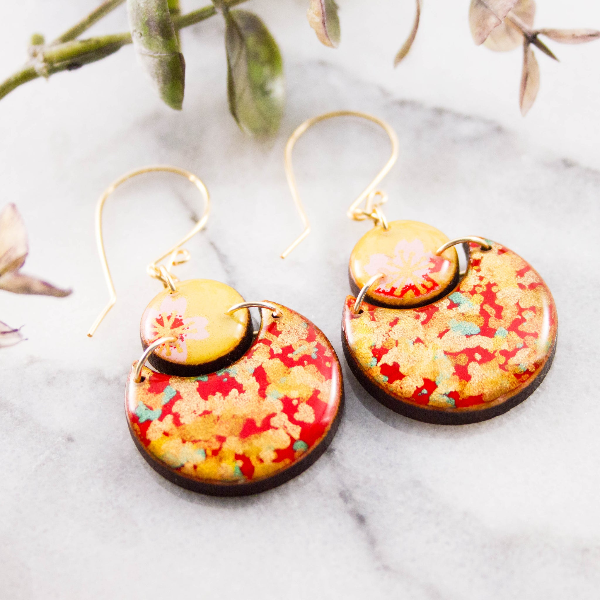 Japanese Double Circle Earrings- Red + Gold