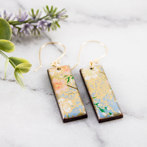 Light Blue Floral Rectangle Earrings