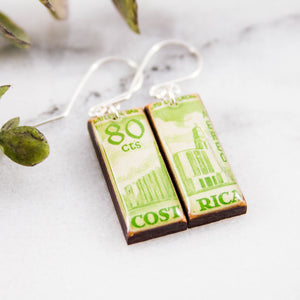 COSTA RICA- Vintage Green Postage Stamp Earrings