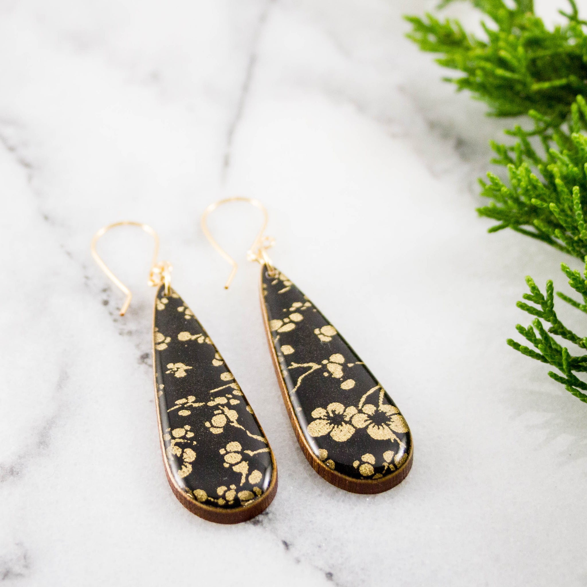 Black + Gold Cherry Blossom Teardrop Earrings