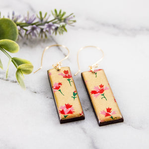 Gold + Pink Floral Rectangle Earrings