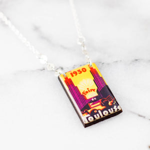 FRANCE- Toulouse Vintage French Poster Stamp Necklace