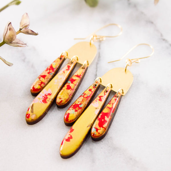 Japanese Triple Raindrop Earrings- Red + Gold