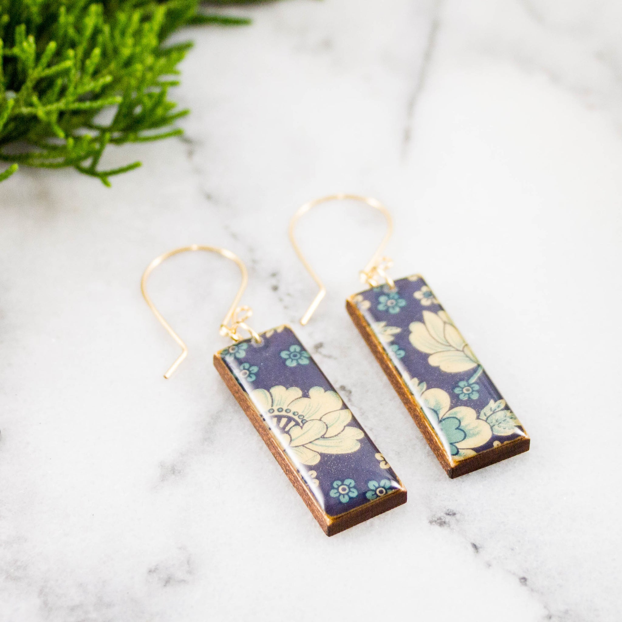 Blue + Cream Vintage Floral Rectangle Earrings