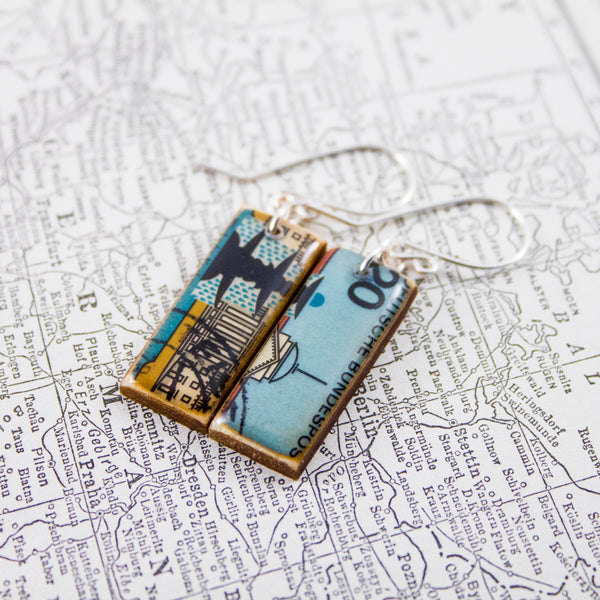 GERMANY- Vintage Cityscape Postage Stamp Earrings