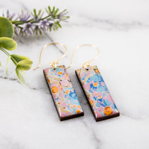 Orange + Aqua Marble Rectangle Earrings