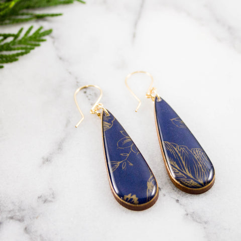 Navy + Gold Botanical Teardrop Earrings