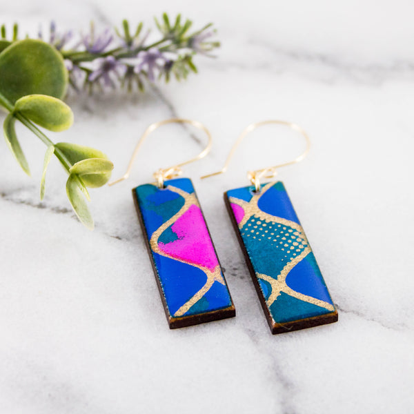 Turquoise + Pink Geometric Rectangle Earrings