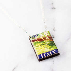 ITALY- Watercolor Vintage Italy Poster Stamp Necklace