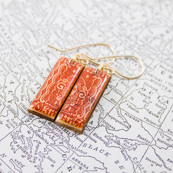 AUSTRIA- Antique Art Deco Orange Postage Stamp Earrings