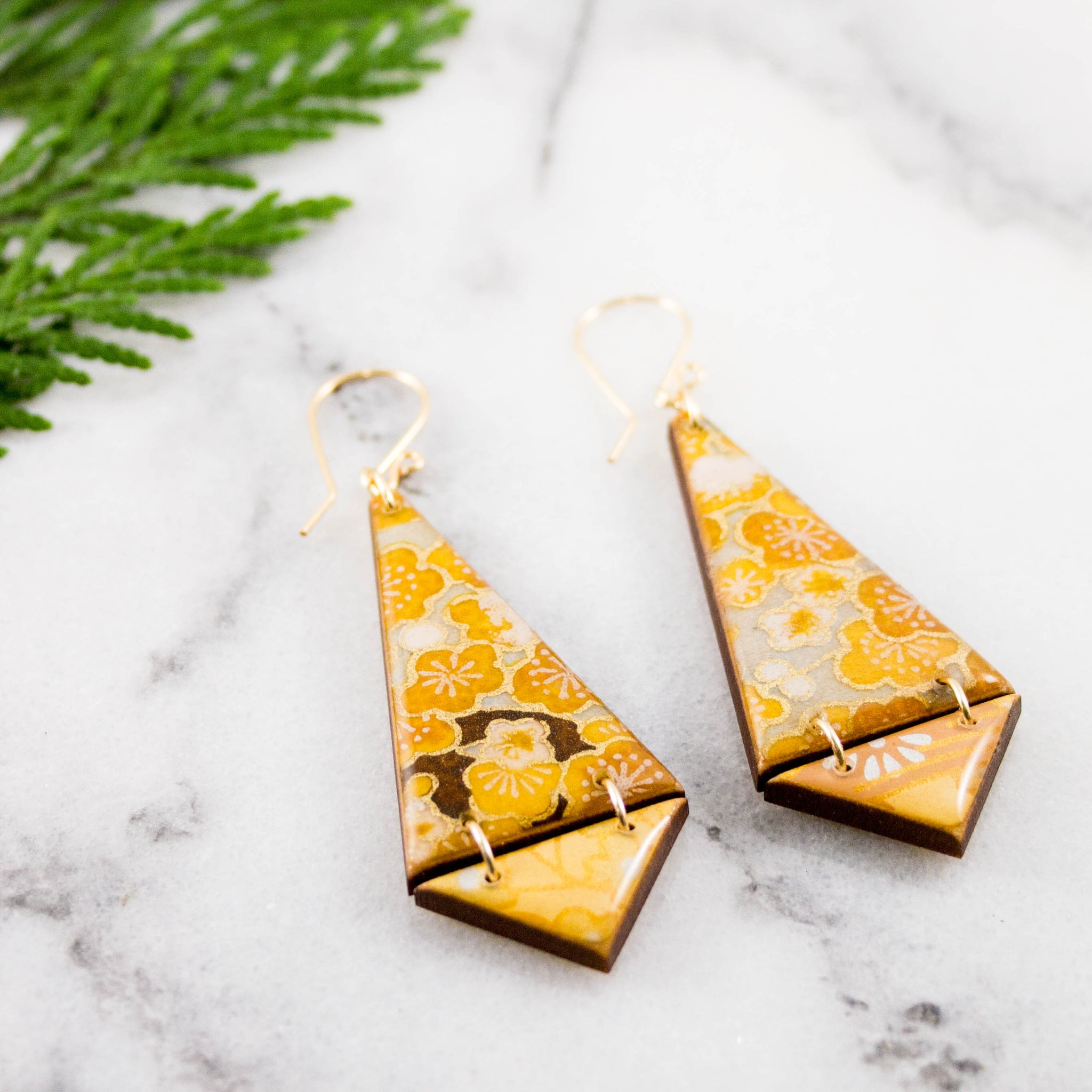 Double Triangle Earrings- Autumn Gold Floral