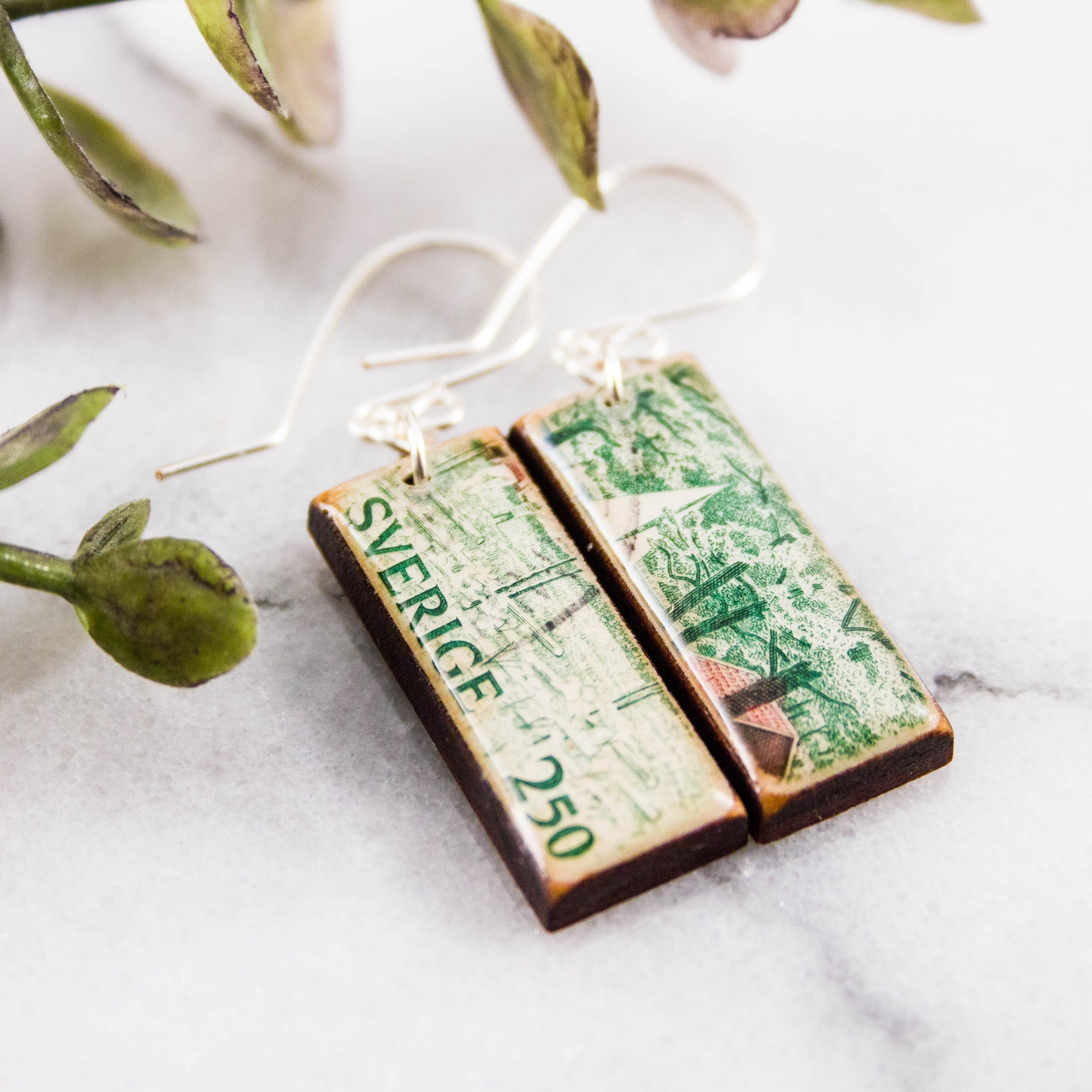 SWEDEN- Vintage Forest Scene Postage Stamp Earrings