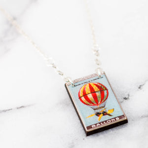FRANCE- Vintage French Hot Air Balloon Poster Stamp Necklace