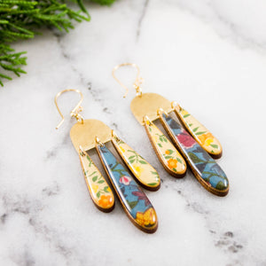 Triple Raindrop Earrings- Vintage Italian Floral