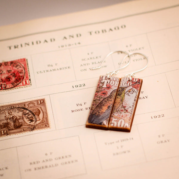TRINIDAD + TOBAGO- Vintage Postage Stamp Bird Earrings