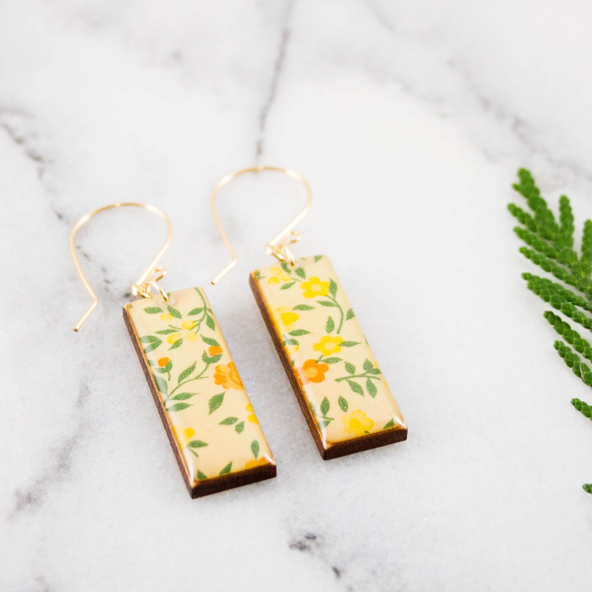Vintage Yellow Floral Rectangle Earrings