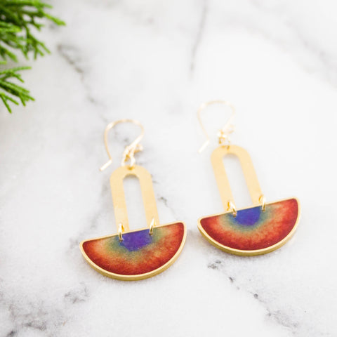 Double Rainbow Brass Earrings