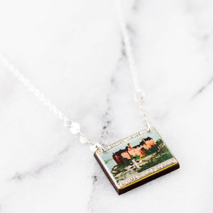 Vintage 1939 Stadium High School Tacoma Poster Stamp Necklace