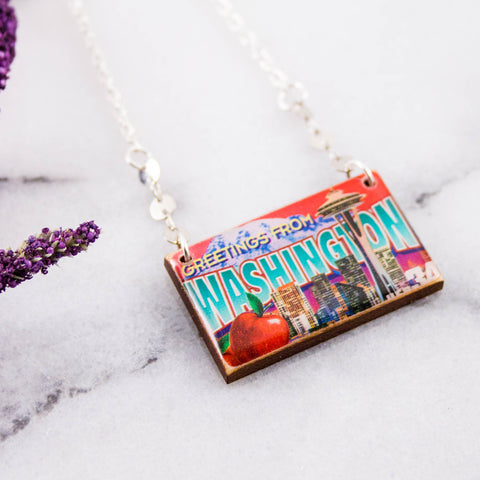 WASHINGTON- Vintage Greetings From America Postage Stamp Necklace