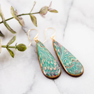 Green Feather Marble Teardrop Earrings