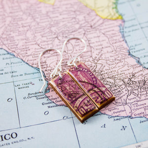 MEXICO- Antique Purple Postage Stamp Earrings
