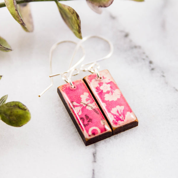 JAPAN- Vintage Pink Cherry Blossom Postage Stamp Earrings