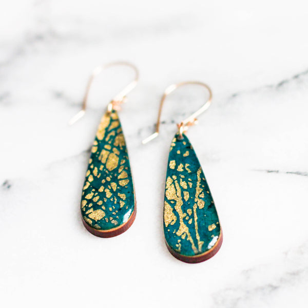 Peacock Blue + Gold Teardrop Earrings