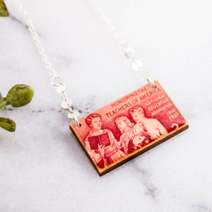 US- Vintage National Education Association Postage Stamp Necklace