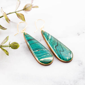 Turquoise Marble Teardrop Earrings