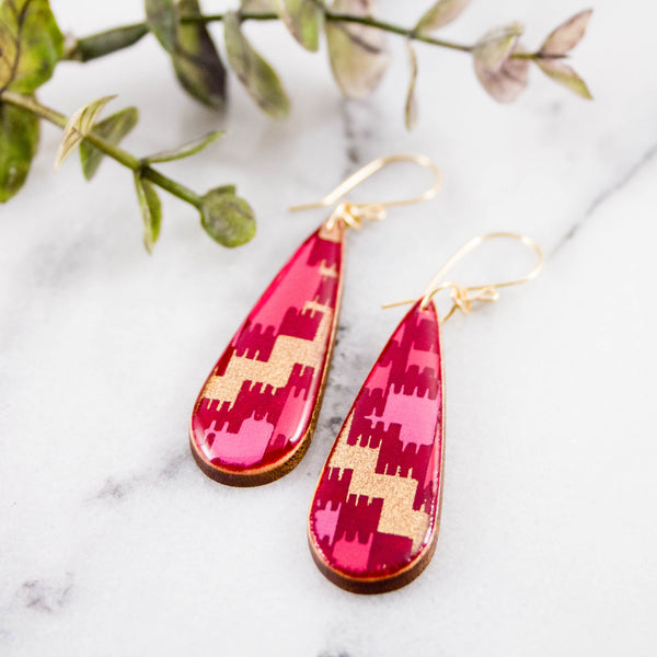 Magenta + Gold Teardrop Earrings