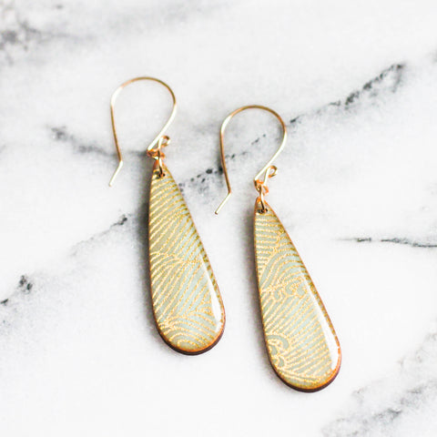 Pale Aqua + Gold Wave Teardrop Earrings