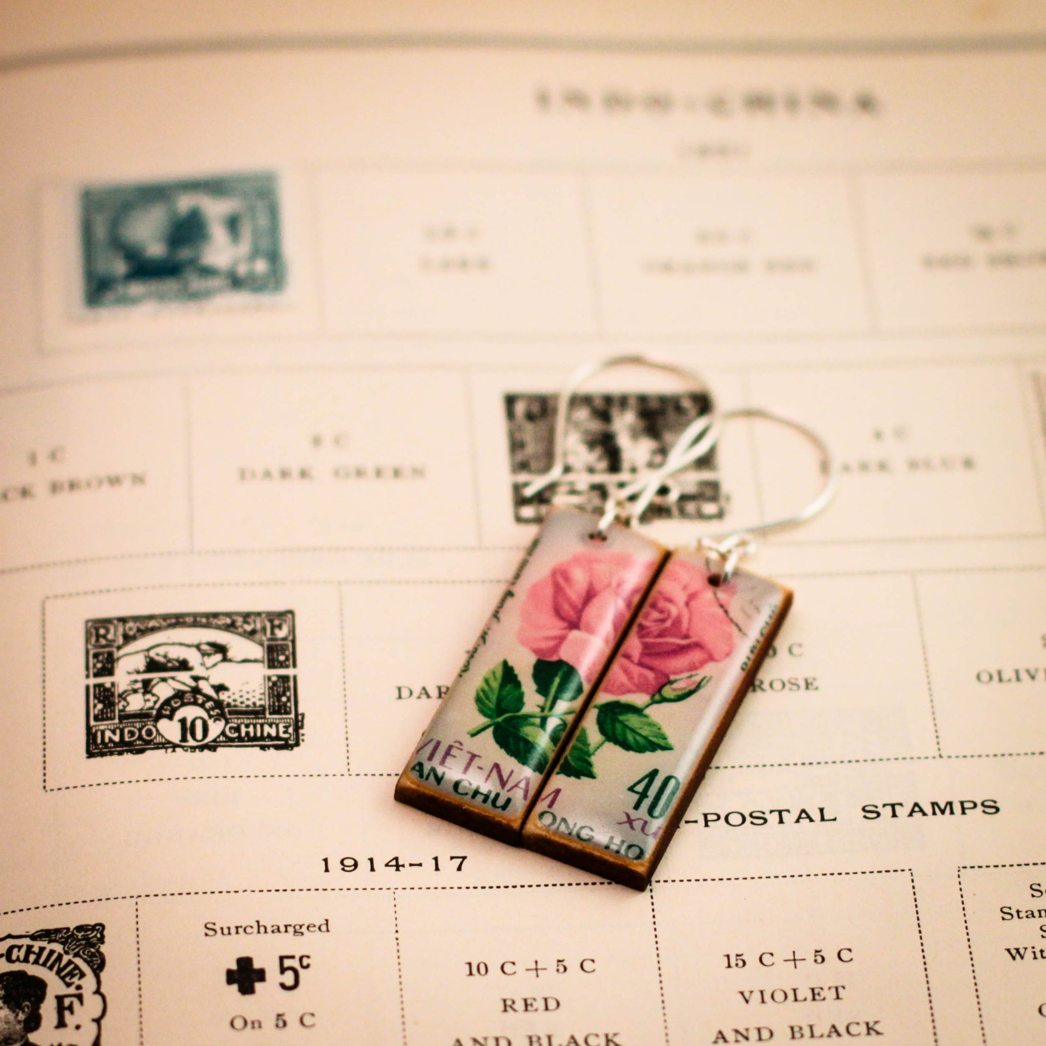 VIETNAM- Vintage Postage Stamp Rose Earrings