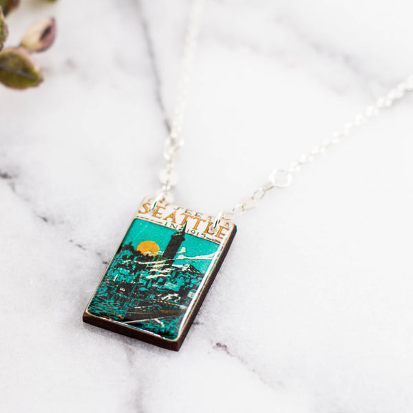 WASHINGTON- Seattle in 1915 Vintage Poster Stamp Necklace