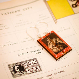 VATICAN CITY- Vintage Postage Stamp Mother + Children Earrings