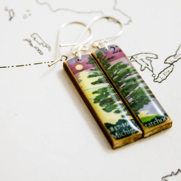 MICHIGAN- Vintage State Postage Stamp Earrings