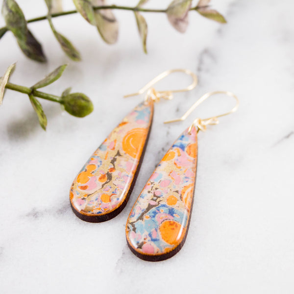 Orange + Aqua Marble Teardrop Earrings