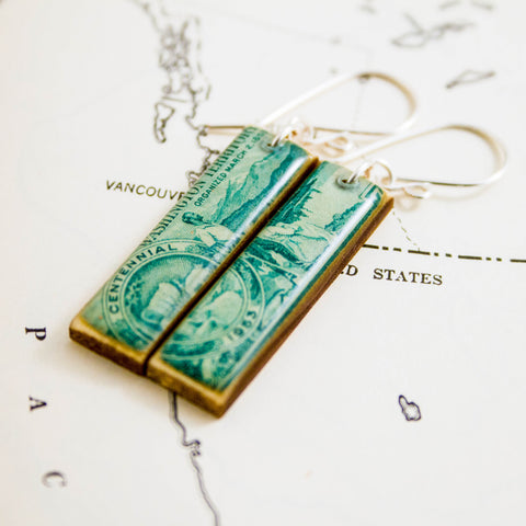 WASHINGTON- Vintage Washington Territory Centennial Postage Stamp Earrings