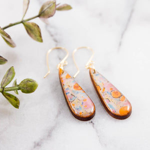 Petite Orange + Aqua Marble Teardrop Earrings
