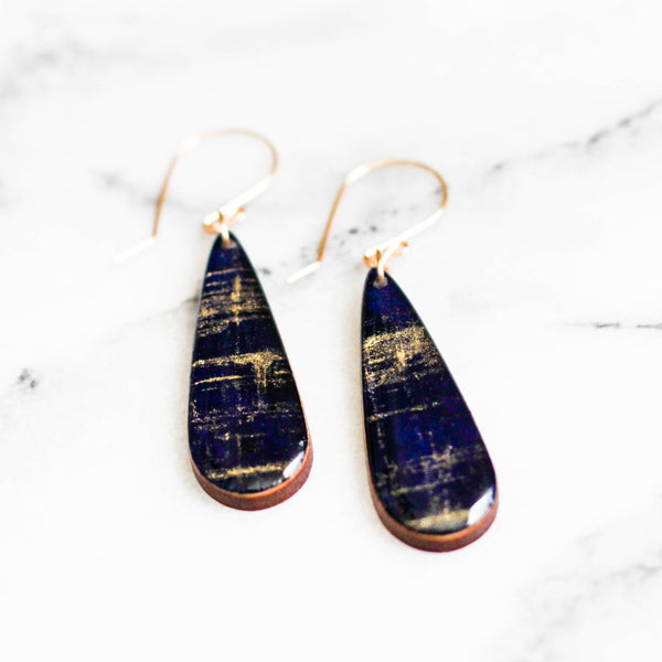 Cobalt + Gold Brushstroke Teardrop Earrings