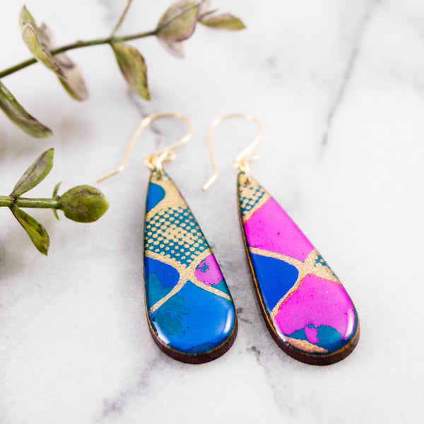 Turquoise + Pink Geometric Teardrop Earrings