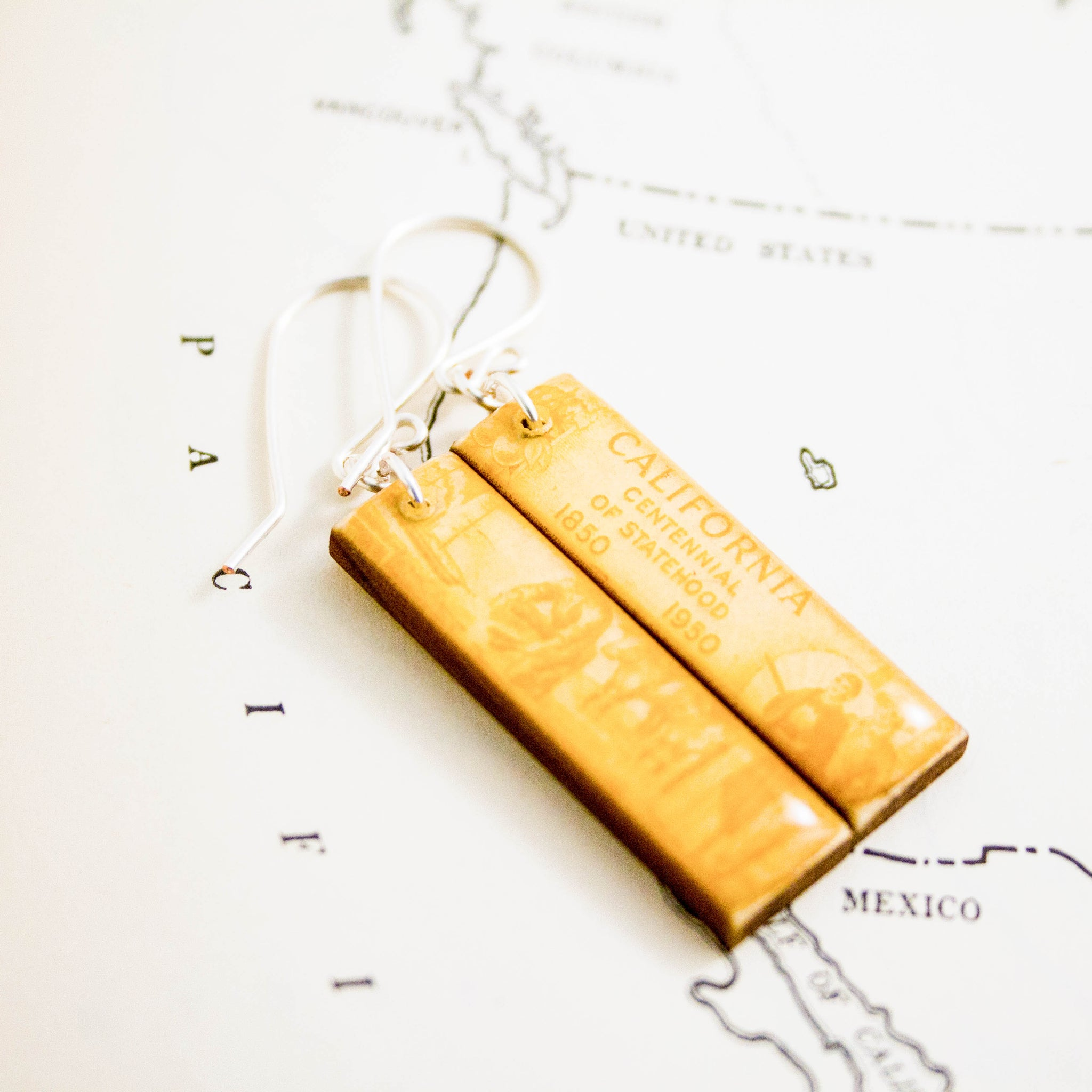 CALIFORNIA- Vintage State Centennial Postage Stamp Earrings