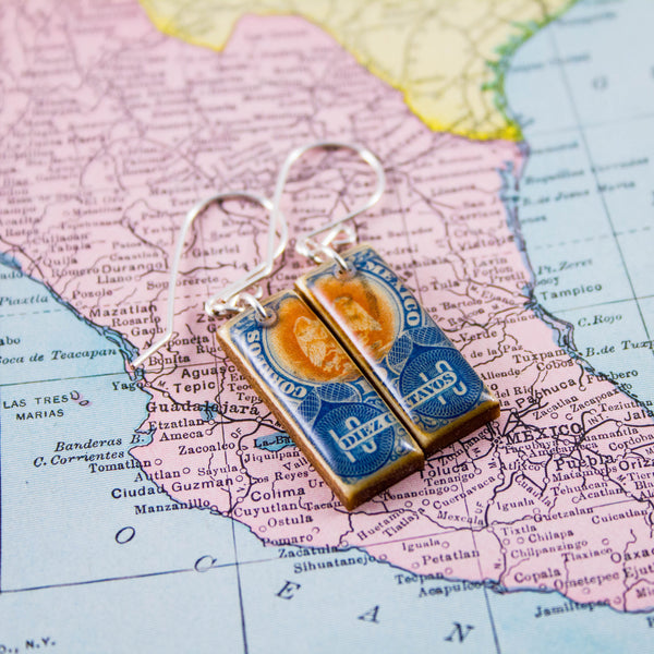 Antique Mexico Postage Stamp Earrings