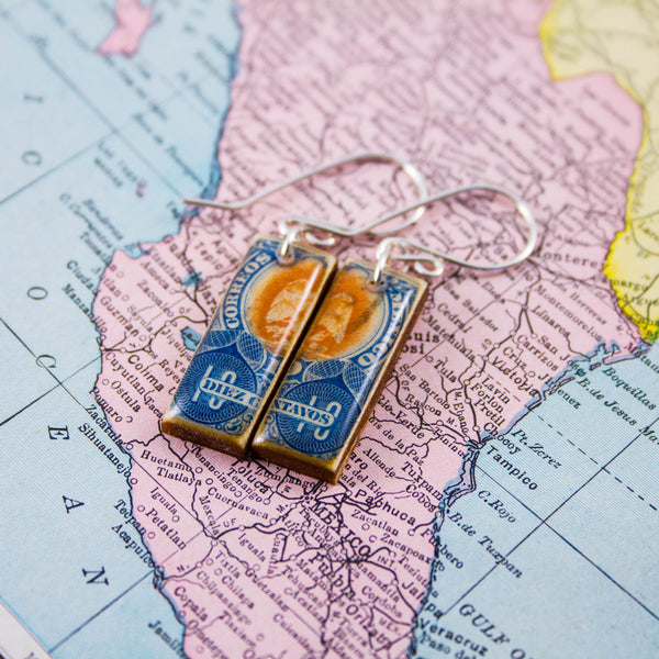 MEXICO- Antique Blue Postage Stamp Earrings