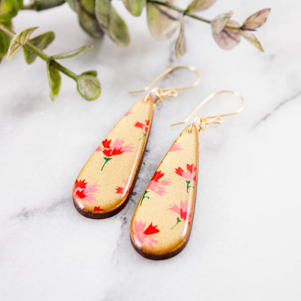 Gold + Pink Floral Teardrop Earrings