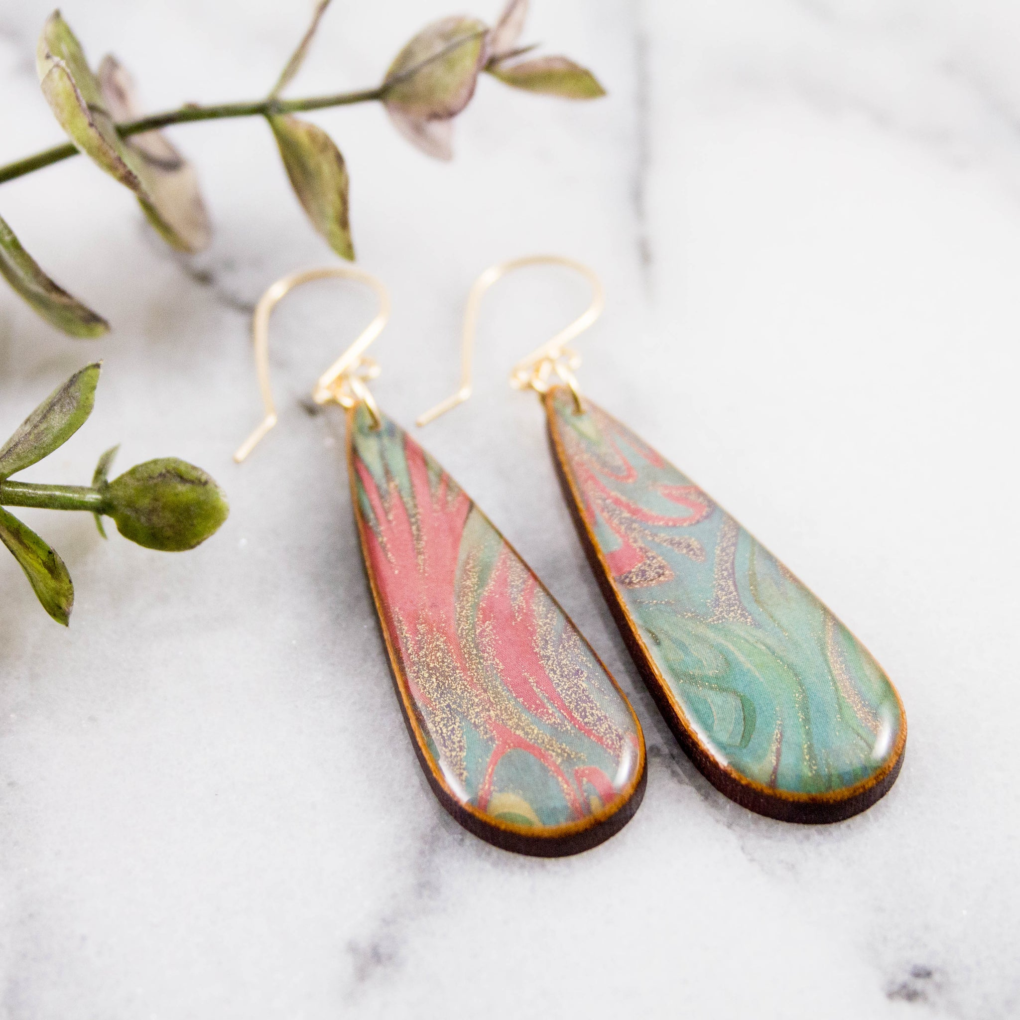 Pastel Marble Teardrop Earrings