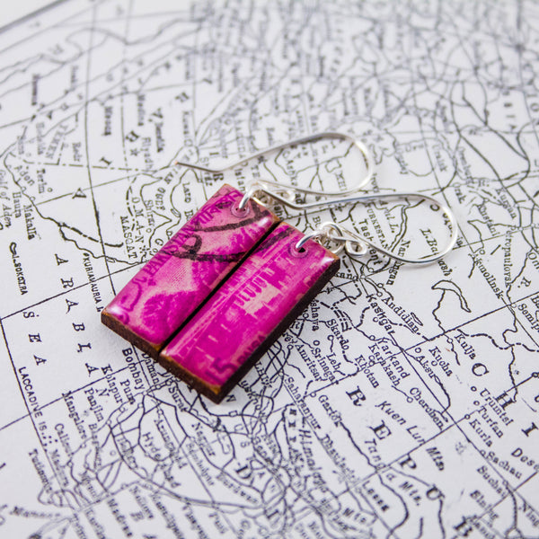 PAKISTAN- Antique Magenta Postage Stamp Earrings